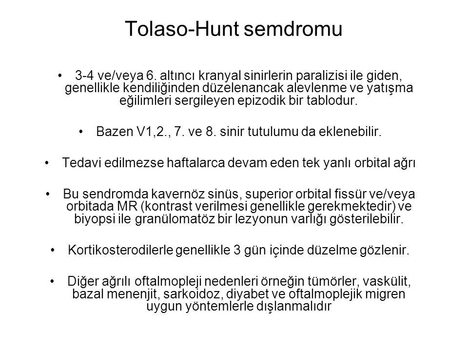 Tolaso-Hunt semdromu 3-4 ve/veya 6. altıncı kranyal sinirlerin paralizisi ile giden, genellikle kendiliğinden düzelenancak alevlenme ve yatışma eğilim