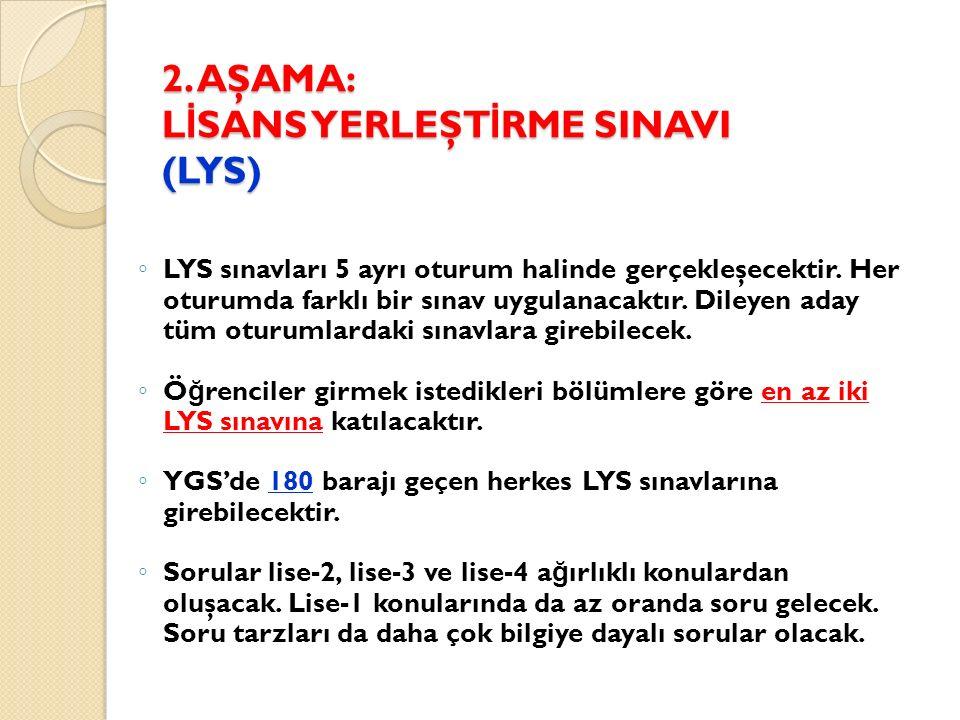 2. AŞAMA: L İ SANS YERLEŞT İ RME SINAVI (LYS) ◦ LYS sınavları 5 ayrı oturum halinde gerçekleşecektir. Her oturumda farklı bir sınav uygulanacaktır. Di