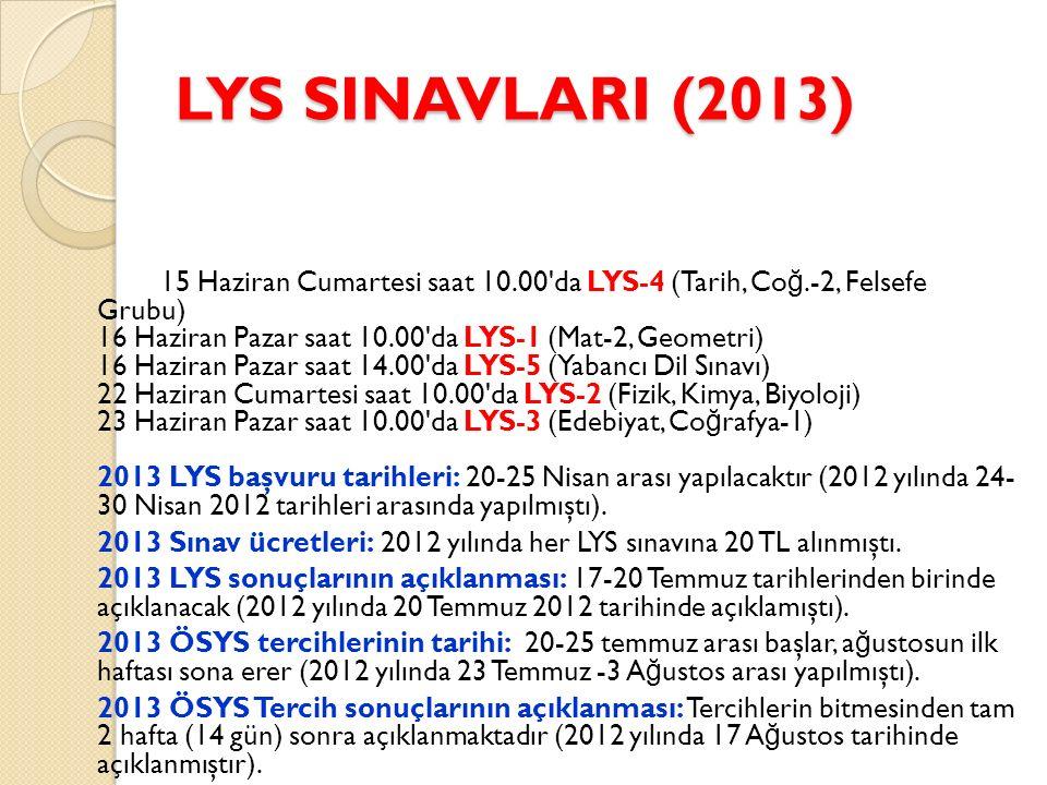 LYS SINAVLARI (2013) 15 Haziran Cumartesi saat 10.00 da LYS-4 (Tarih, Co ğ.-2, Felsefe Grubu) 16 Haziran Pazar saat 10.00 da LYS-1 (Mat-2, Geometri) 16 Haziran Pazar saat 14.00 da LYS-5 (Yabancı Dil Sınavı) 22 Haziran Cumartesi saat 10.00 da LYS-2 (Fizik, Kimya, Biyoloji) 23 Haziran Pazar saat 10.00 da LYS-3 (Edebiyat, Co ğ rafya-1) 2013 LYS başvuru tarihleri: 20-25 Nisan arası yapılacaktır (2012 yılında 24- 30 Nisan 2012 tarihleri arasında yapılmıştı).