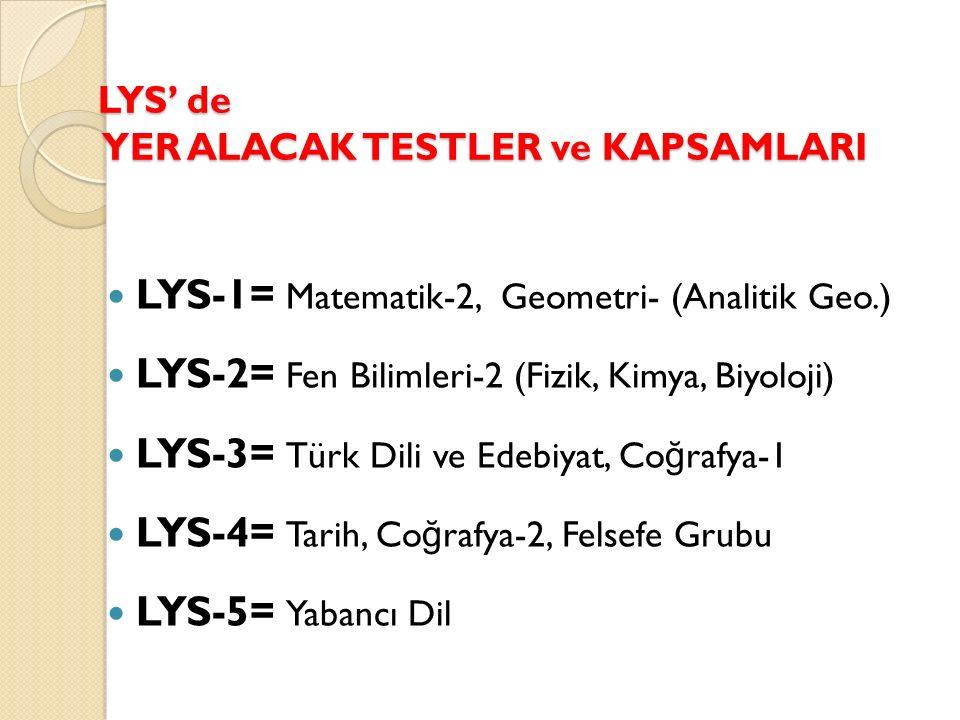 LYS' de YER ALACAK TESTLER ve KAPSAMLARI LYS-1= Matematik-2, Geometri- (Analitik Geo.) LYS-2= Fen Bilimleri-2 (Fizik, Kimya, Biyoloji) LYS-3= Türk Dili ve Edebiyat, Co ğ rafya-1 LYS-4= Tarih, Co ğ rafya-2, Felsefe Grubu LYS-5= Yabancı Dil