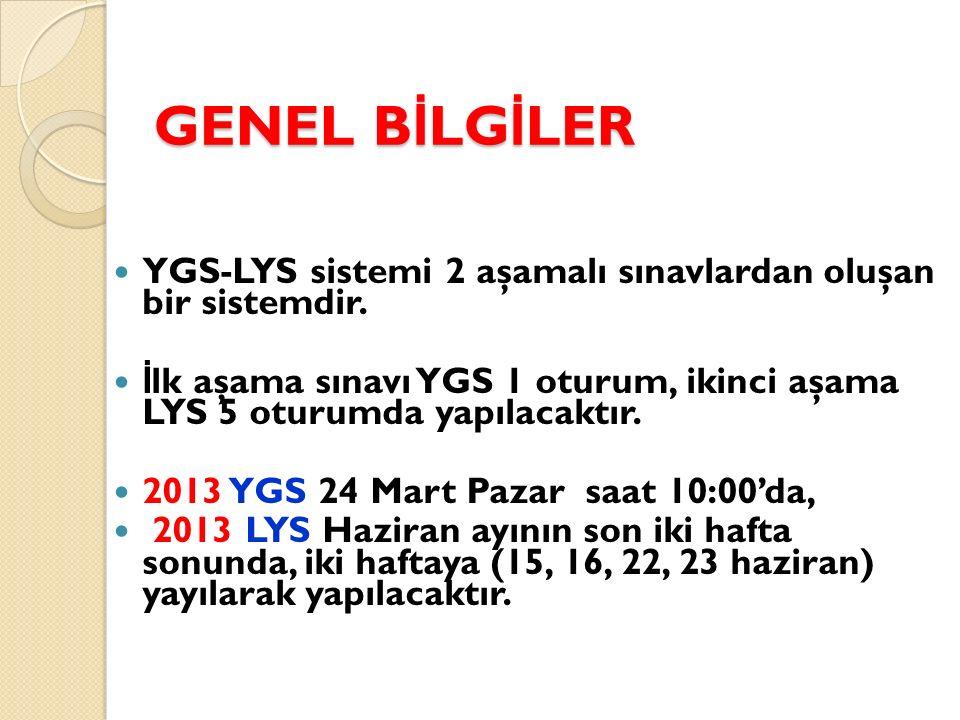 GENEL B İ LG İ LER YGS-LYS sistemi 2 aşamalı sınavlardan oluşan bir sistemdir. İ lk aşama sınavı YGS 1 oturum, ikinci aşama LYS 5 oturumda yapılacaktı