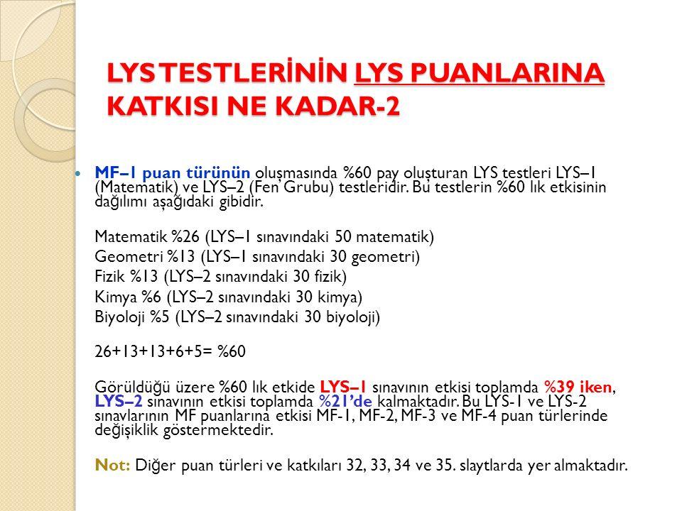LYS TESTLER İ N İ N LYS PUANLARINA KATKISI NE KADAR-2 MF–1 puan türünün oluşmasında %60 pay oluşturan LYS testleri LYS–1 (Matematik) ve LYS–2 (Fen Grubu) testleridir.