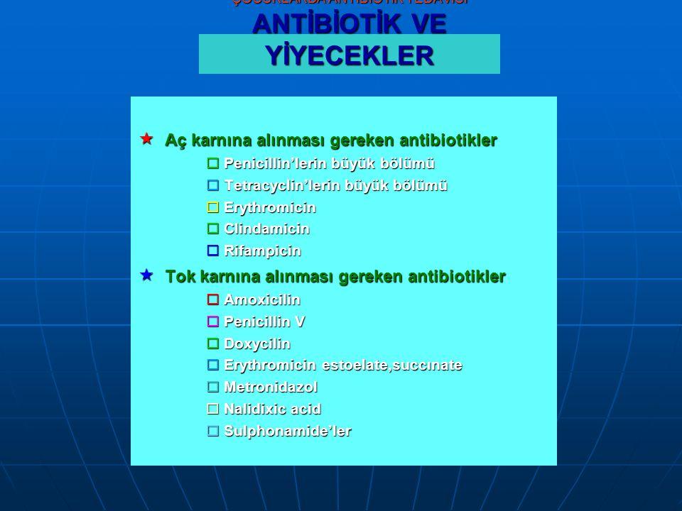 ÇOCUKLARDA ANTİBİOTİK TEDAVİSİ ANTİBİOTİK VE YİYECEKLER  Aç karnına alınması gereken antibiotikler  Penicillin'lerin büyük bölümü  Tetracyclin'lerin büyük bölümü  Erythromicin  Clindamicin  Rifampicin  Tok karnına alınması gereken antibiotikler  Amoxicilin  Penicillin V  Doxycilin  Erythromicin estoelate,succınate  Metronidazol  Nalidixic acid  Sulphonamide'ler