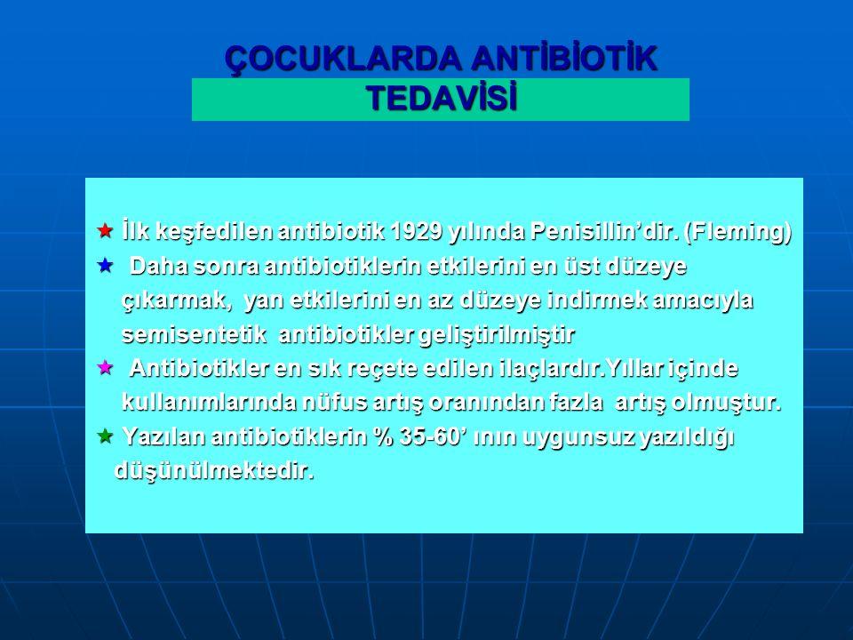  İlk keşfedilen antibiotik 1929 yılında Penisillin'dir.