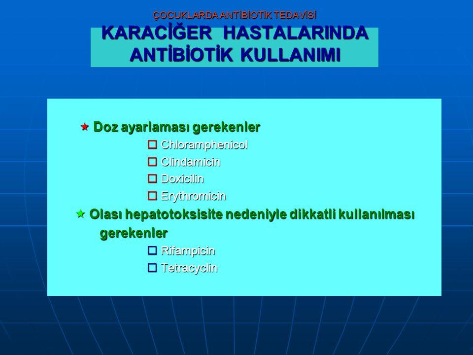 ÇOCUKLARDA ANTİBİOTİK TEDAVİSİ KARACİĞER HASTALARINDA ANTİBİOTİK KULLANIMI  Doz ayarlaması gerekenler  Doz ayarlaması gerekenler  Chloramphenicol  Clindamicin  Doxicilin  Doxicilin  Erythromicin  Olası hepatotoksisite nedeniyle dikkatli kullanılması  Olası hepatotoksisite nedeniyle dikkatli kullanılmasıgerekenler  Rifampicin  Tetracyclin