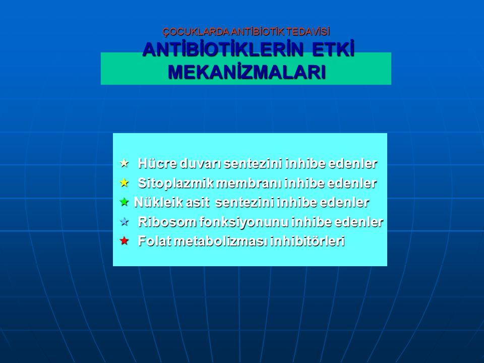 ÇOCUKLARDA ANTİBİOTİK TEDAVİSİ ANTİBİOTİKLERİN ETKİ MEKANİZMALARI  Hücre duvarı sentezini inhibe edenler  Sitoplazmik membranı inhibe edenler  Nükleik asit sentezini inhibe edenler  Ribosom fonksiyonunu inhibe edenler  Folat metabolizması inhibitörleri