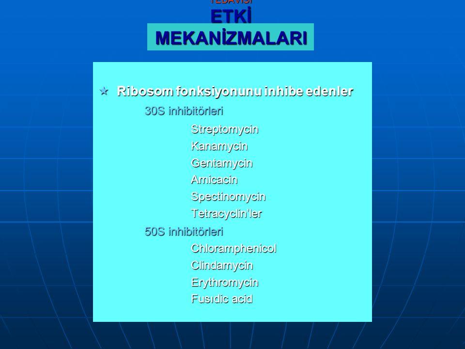 ÇOCUKLARDA ANTİBİOTİK TEDAVİSİ ETKİ MEKANİZMALARI  Ribosom fonksiyonunu inhibe edenler 30S inhibitörleri StreptomycinKanamycinGentamycinAmicacinSpectinomycinTetracyclin'ler 50S inhibitörleri ChloramphenicolClindamycinErythromycin Fusıdic acid