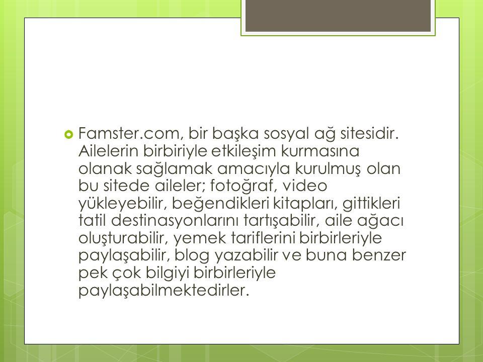  Famster.com, bir başka sosyal ağ sitesidir. Ailelerin birbiriyle etkileşim kurmasına olanak sağlamak amacıyla kurulmuş olan bu sitede aileler; fotoğ