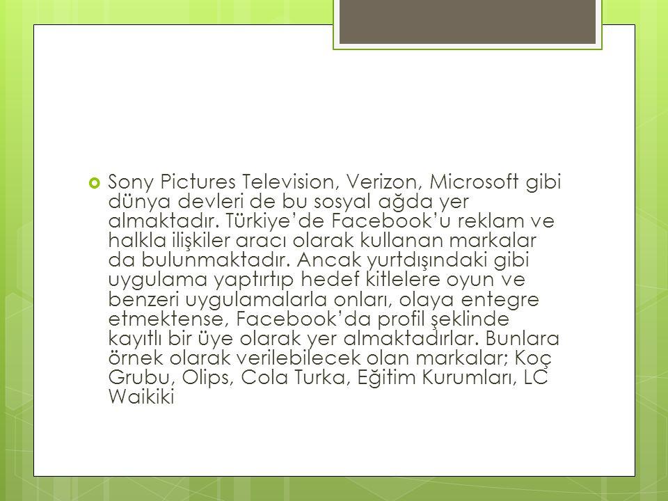 Sony Pictures Television, Verizon, Microsoft gibi dünya devleri de bu sosyal ağda yer almaktadır. Türkiye'de Facebook'u reklam ve halkla ilişkiler a