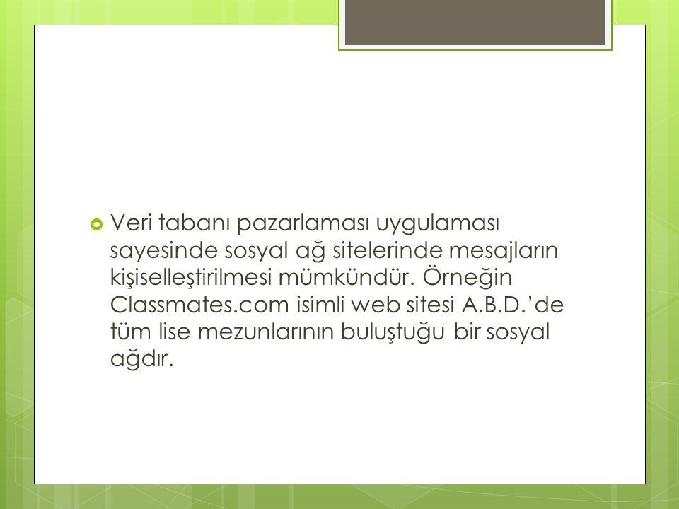  Veri tabanı pazarlaması uygulaması sayesinde sosyal ağ sitelerinde mesajların kişiselleştirilmesi mümkündür. Örneğin Classmates.com isimli web sites
