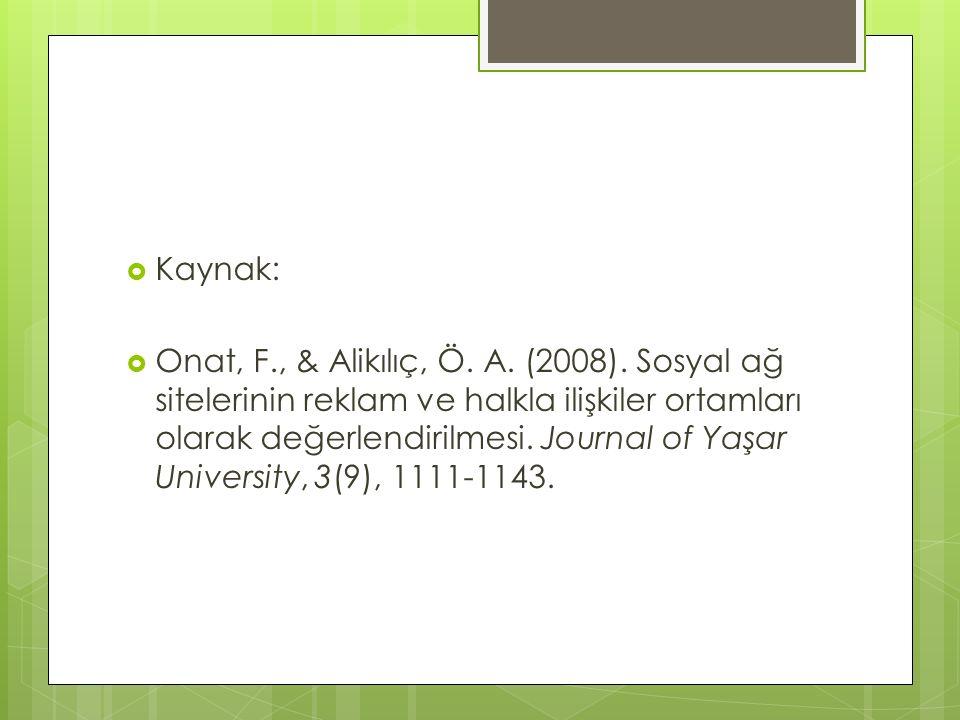  Kaynak:  Onat, F., & Alikılıç, Ö. A. (2008). Sosyal ağ sitelerinin reklam ve halkla ilişkiler ortamları olarak değerlendirilmesi. Journal of Yaşar