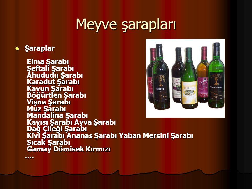 MEYVE ŞARAPLARI: Meyve Şarabı: Meyve Şarabı: Elma,armut,vişne,kiraz,por takal gibi taze meyve suyunun fermantasyonu ile elde edilen alkollü bir içkidir.