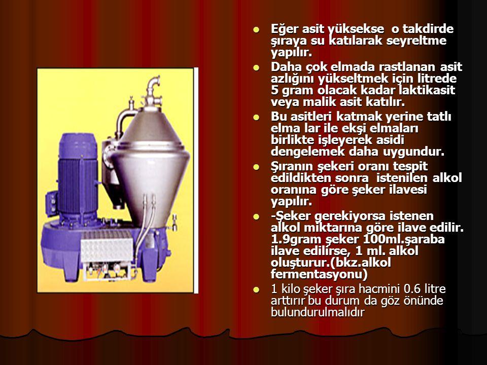 Şıranın fermentasyona hazırlanması: Fermentasyona başlarken asit ve şeker oranlarını ayarlamak gerekmektedir.