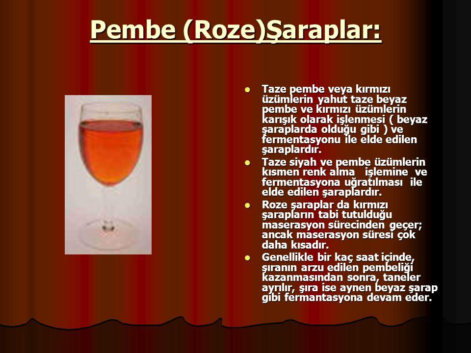 Kabarcıklı şaraplar: İçinde en az 1 ve en çok 2.5 atmosfer basınç yapacak miktarda CO2 bulunan şaraplardır.