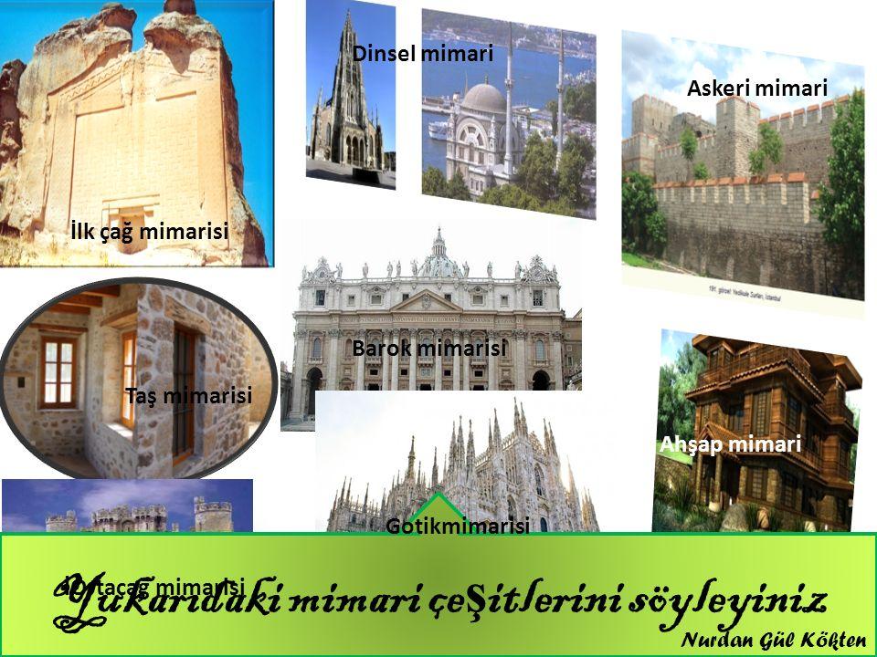 Yukarıdaki mimari çe ş itlerini söyleyiniz İlk çağ mimarisi Dinsel mimari Askeri mimari Taş mimarisi Barok mimarisi Ahşap mimari İOrtaçağ mimarisi Got