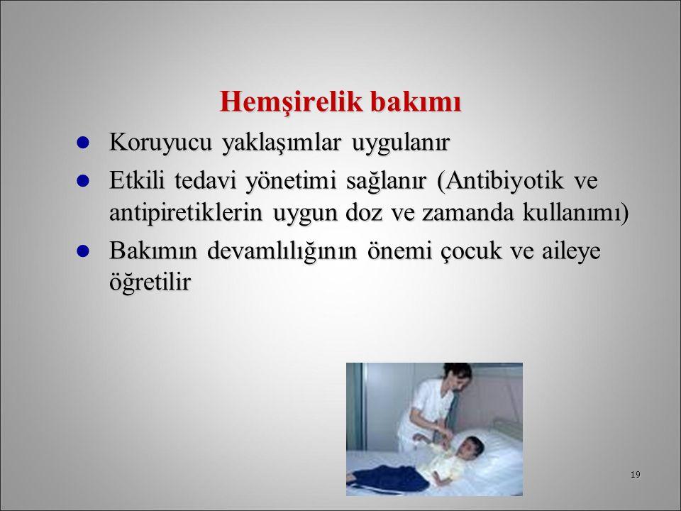 Hemşirelik bakımı Koruyucu yaklaşımlar uygulanır Koruyucu yaklaşımlar uygulanır Etkili tedavi yönetimi sağlanır (Antibiyotik ve antipiretiklerin uygun