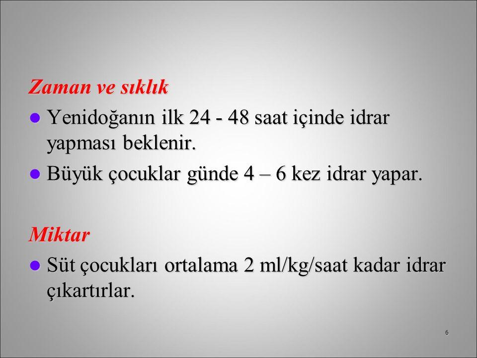 Zaman ve sıklık Yenidoğanın ilk 24 - 48 saat içinde idrar yapması beklenir. Yenidoğanın ilk 24 - 48 saat içinde idrar yapması beklenir. Büyük çocuklar