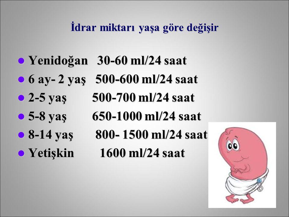 İdrar miktarı yaşa göre değişir Yenidoğan 30-60 ml/24 saat Yenidoğan 30-60 ml/24 saat 6 ay- 2 yaş 500-600 ml/24 saat 6 ay- 2 yaş 500-600 ml/24 saat 2-