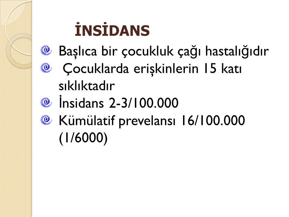 Başlıca bir çocukluk ça ğ ı hastalı ğ ıdır Çocuklarda erişkinlerin 15 katı sıklıktadır İ nsidans 2-3/100.000 Kümülatif prevelansı 16/100.000 (1/6000)