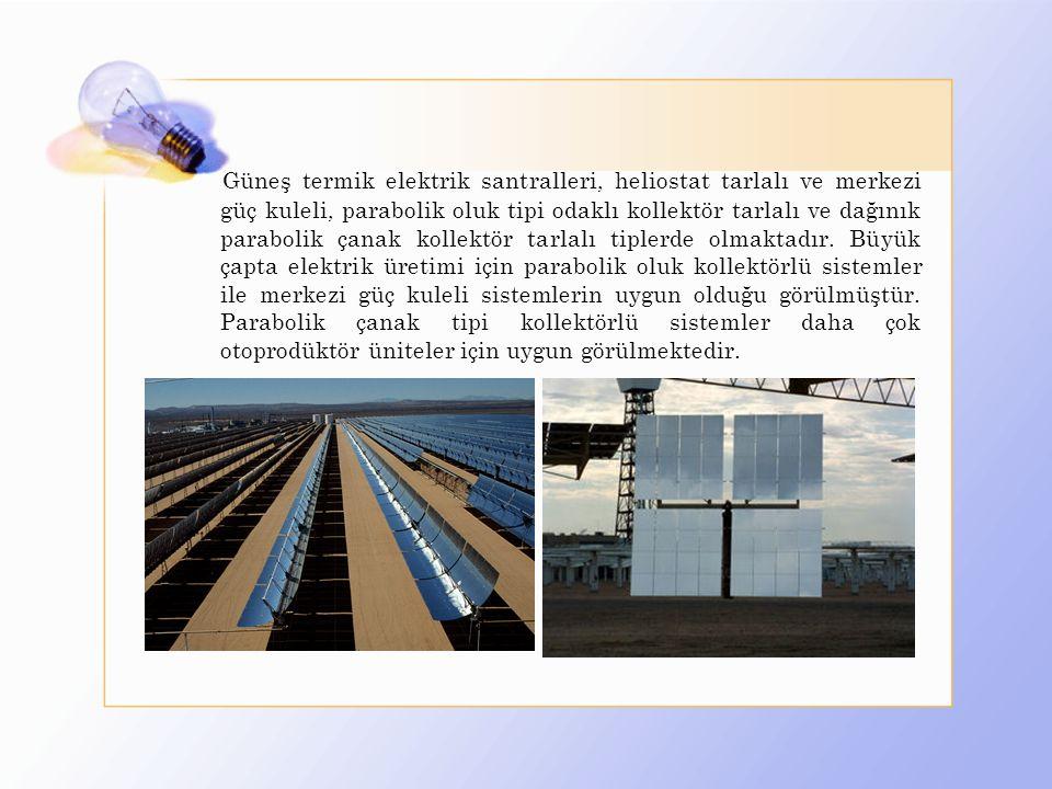 Güneş termik elektrik santralleri, heliostat tarlalı ve merkezi güç kuleli, parabolik oluk tipi odaklı kollektör tarlalı ve dağınık parabolik çanak ko