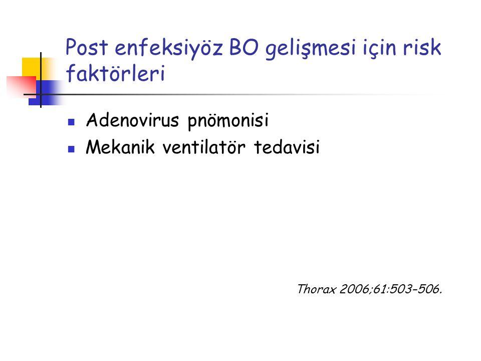 Post enfeksiyöz BO gelişmesi için risk faktörleri Adenovirus pnömonisi Mekanik ventilatör tedavisi Thorax 2006;61:503–506.