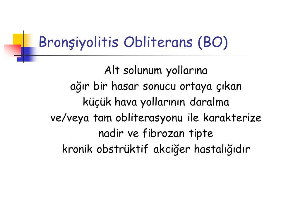Tanı Akciğer Biyopsisi Altın standart Hava yolu tutulumunun heterojen dağılımı nedeniyle bulgu saptanmayabilir Bronşiyolde belirgin subepitelyal fibrozise bağlı tama yakın obliterasyon