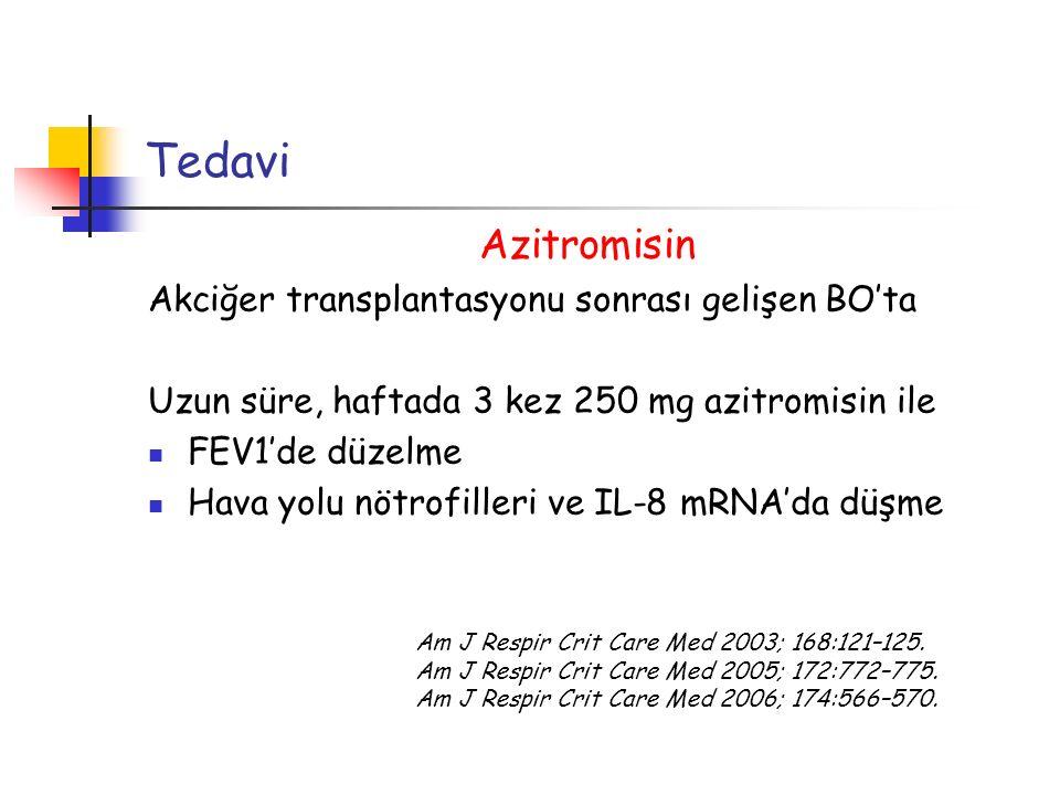 Tedavi Azitromisin Akciğer transplantasyonu sonrası gelişen BO'ta Uzun süre, haftada 3 kez 250 mg azitromisin ile FEV1'de düzelme Hava yolu nötrofille