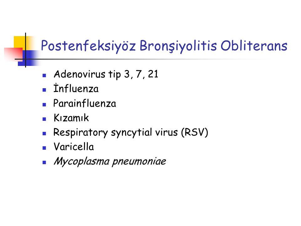 Adenovirus tip 3, 7, 21 İnfluenza Parainfluenza Kızamık Respiratory syncytial virus (RSV) Varicella Mycoplasma pneumoniae Postenfeksiyöz Bronşiyolitis