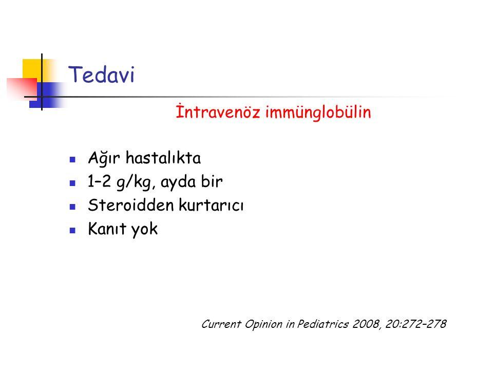 Tedavi İntravenöz immünglobülin Ağır hastalıkta 1–2 g/kg, ayda bir Steroidden kurtarıcı Kanıt yok Current Opinion in Pediatrics 2008, 20:272–278