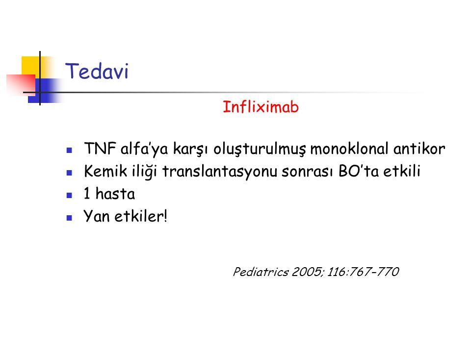 Tedavi Infliximab TNF alfa'ya karşı oluşturulmuş monoklonal antikor Kemik iliği translantasyonu sonrası BO'ta etkili 1 hasta Yan etkiler! Pediatrics 2