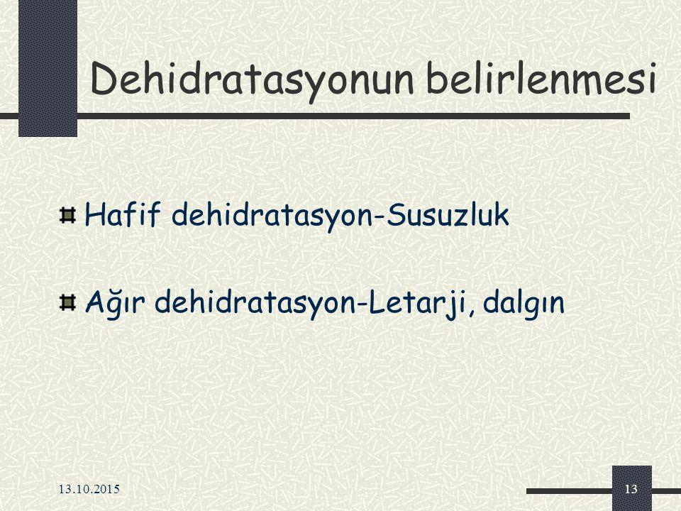 13.10.201513 Dehidratasyonun belirlenmesi Hafif dehidratasyon-Susuzluk Ağır dehidratasyon-Letarji, dalgın