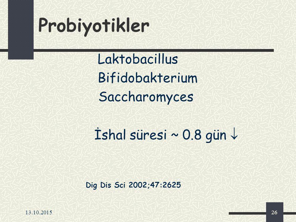 13.10.201526 Probiyotikler Laktobacillus Bifidobakterium Saccharomyces İshal süresi ~ 0.8 gün  Dig Dis Sci 2002;47:2625