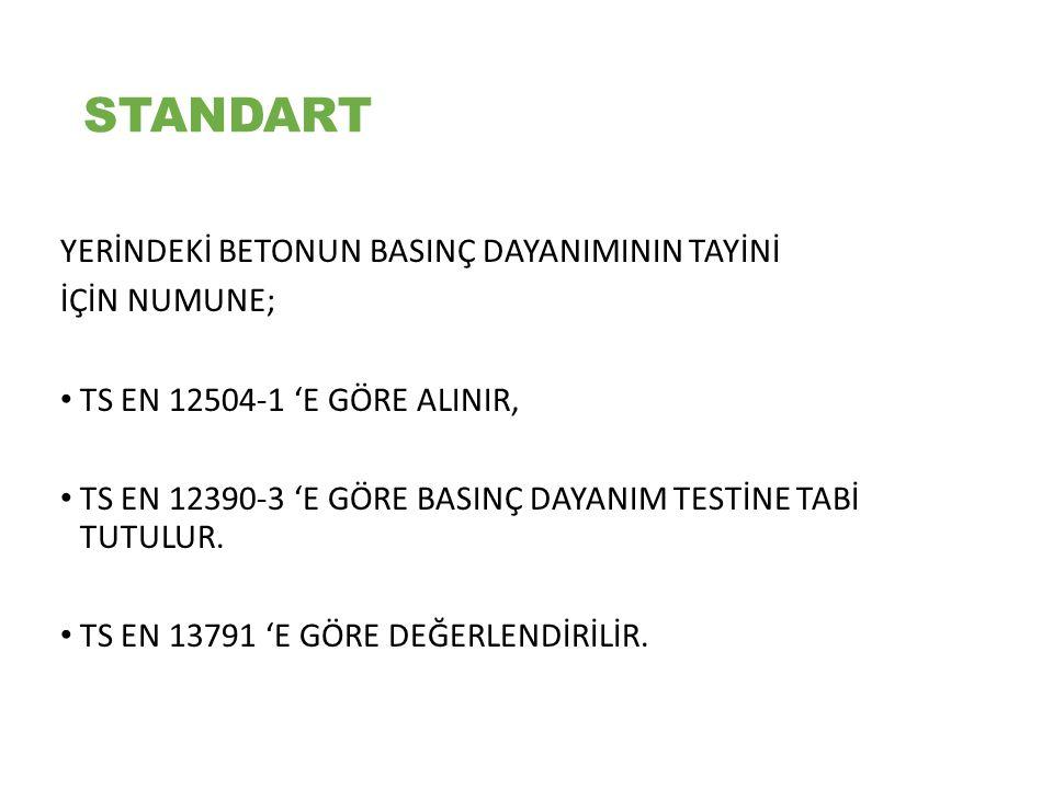 Standart Basınç Dayanımı : TS EN 12350-1, TS EN 12390-2 ve TS EN 12390-3 'e göre, yapıya dökülen taze betondan alınan, küre tabi tutulan ve basınç dayanımı deneyi uygulanan standart deney numunelerinde (küp veya silindir şekilli) tayin edilen basınç dayanımı.