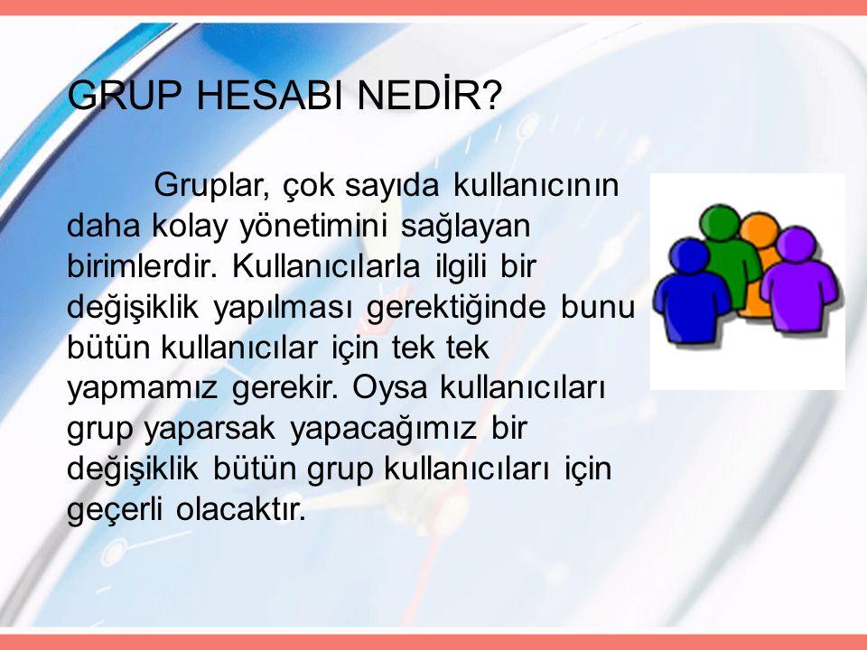 GRUP HESABI NEDİR. Gruplar, çok sayıda kullanıcının daha kolay yönetimini sağlayan birimlerdir.