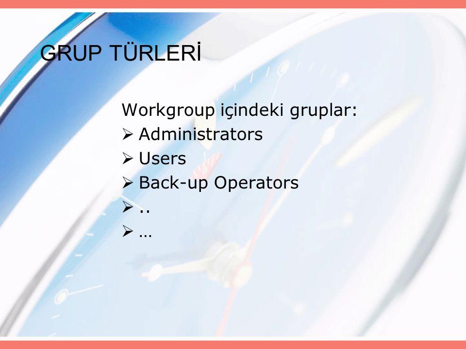 GRUP TÜRLERİ Workgroup içindeki gruplar:  Administrators  Users  Back-up Operators ..  …