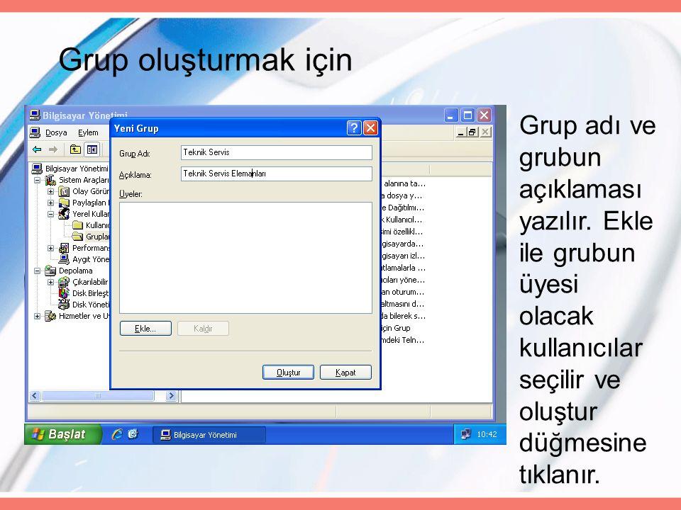 Grup oluşturmak için Grup adı ve grubun açıklaması yazılır.
