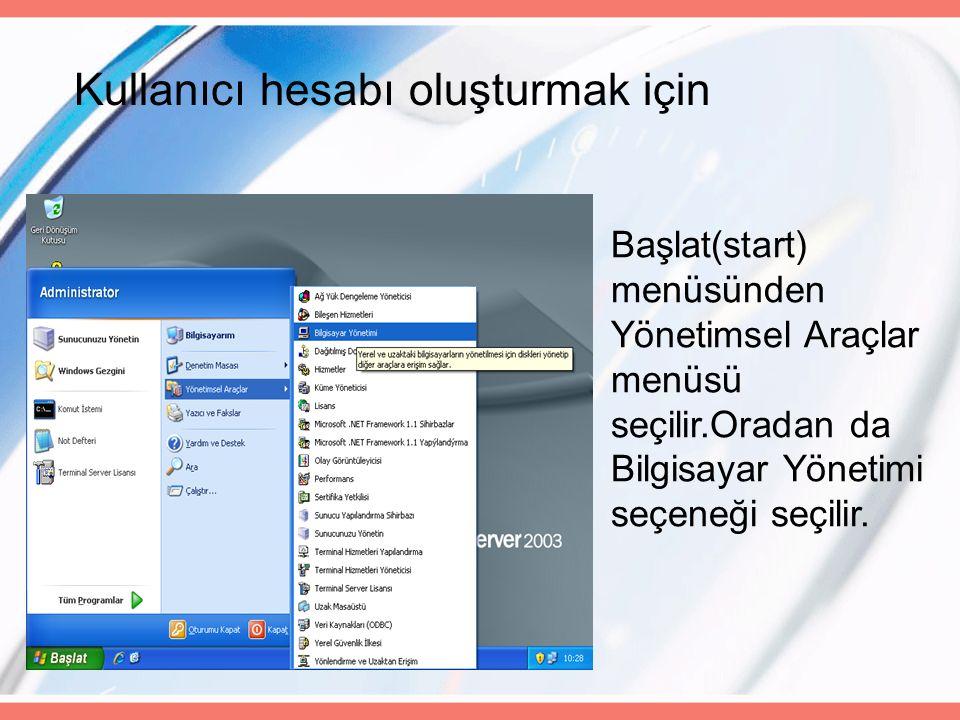 Kullanıcı hesabı oluşturmak için Başlat(start) menüsünden Yönetimsel Araçlar menüsü seçilir.Oradan da Bilgisayar Yönetimi seçeneği seçilir.