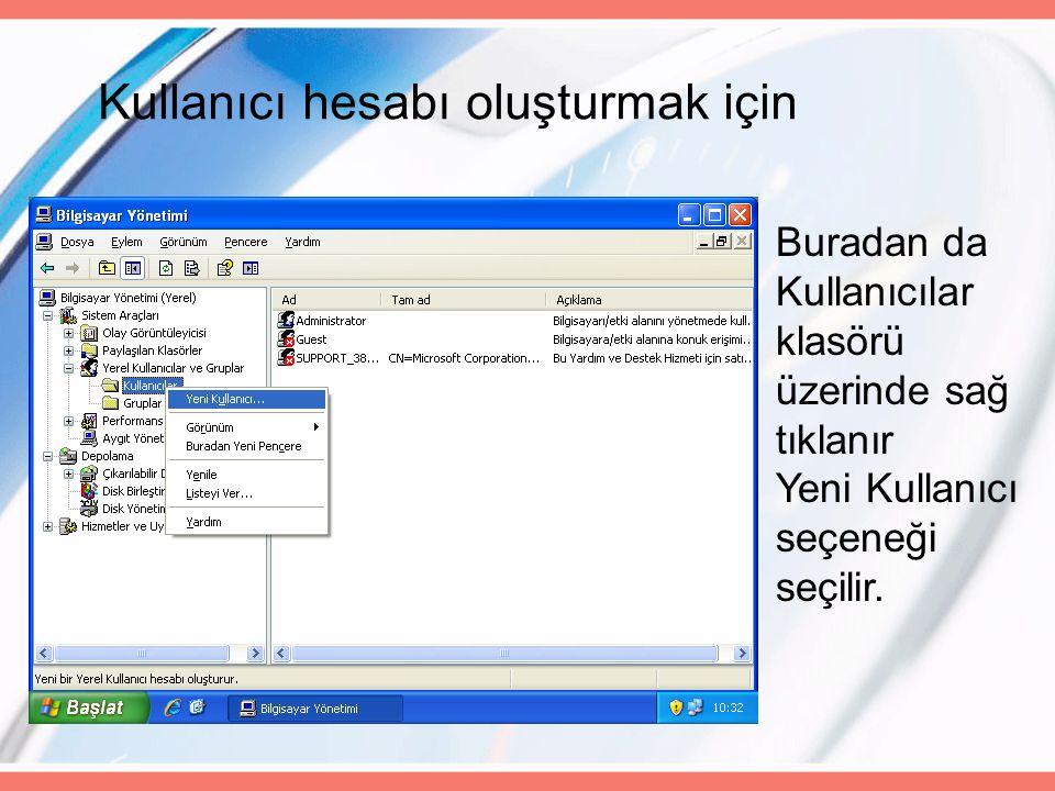Kullanıcı hesabı oluşturmak için Buradan da Kullanıcılar klasörü üzerinde sağ tıklanır Yeni Kullanıcı seçeneği seçilir.