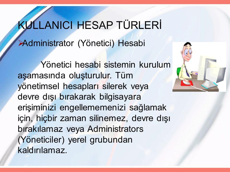 KULLANICI HESAP TÜRLERİ  Administrator (Yönetici) Hesabi Yönetici hesabi sistemin kurulum aşamasında oluşturulur.
