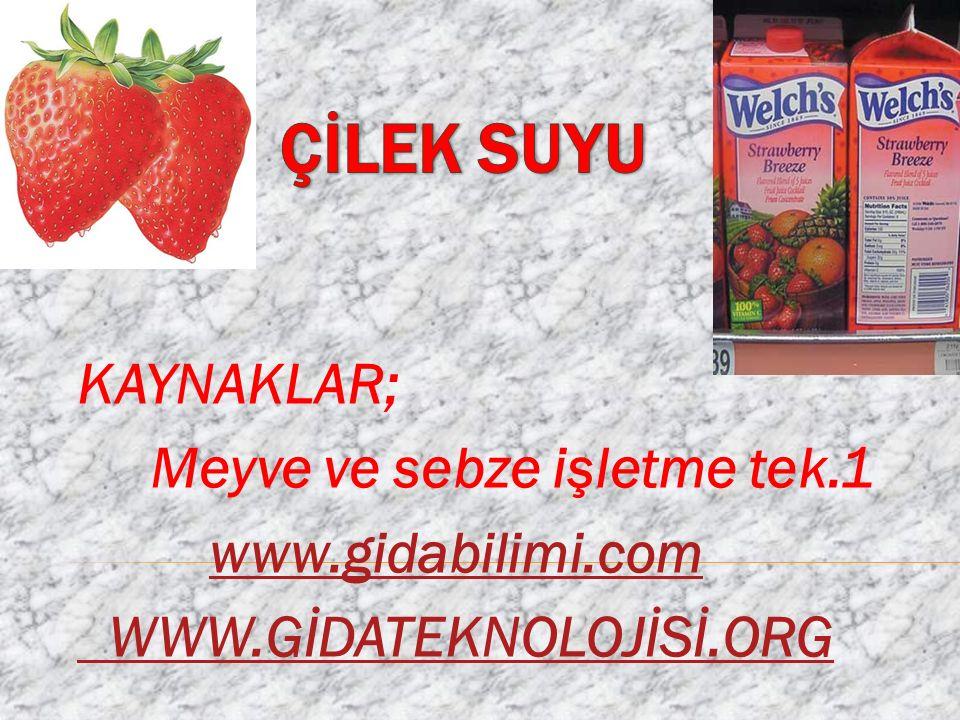 KAYNAKLAR; Meyve ve sebze işletme tek.1 www.gidabilimi.com WWW.GİDATEKNOLOJİSİ.ORG