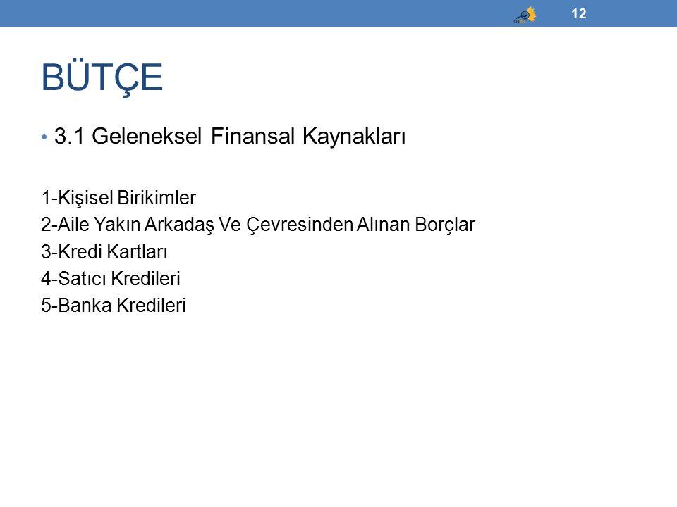 3.1 Geleneksel Finansal Kaynakları 1-Kişisel Birikimler 2-Aile Yakın Arkadaş Ve Çevresinden Alınan Borçlar 3-Kredi Kartları 4-Satıcı Kredileri 5-Banka