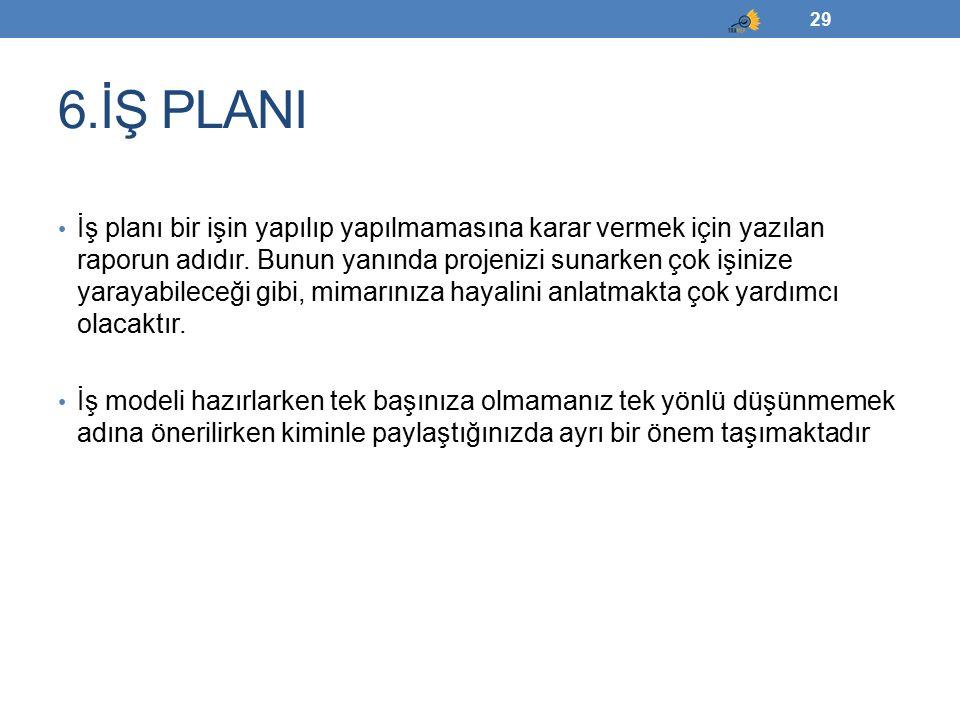 6.İŞ PLANI İş planı bir işin yapılıp yapılmamasına karar vermek için yazılan raporun adıdır. Bunun yanında projenizi sunarken çok işinize yarayabilece