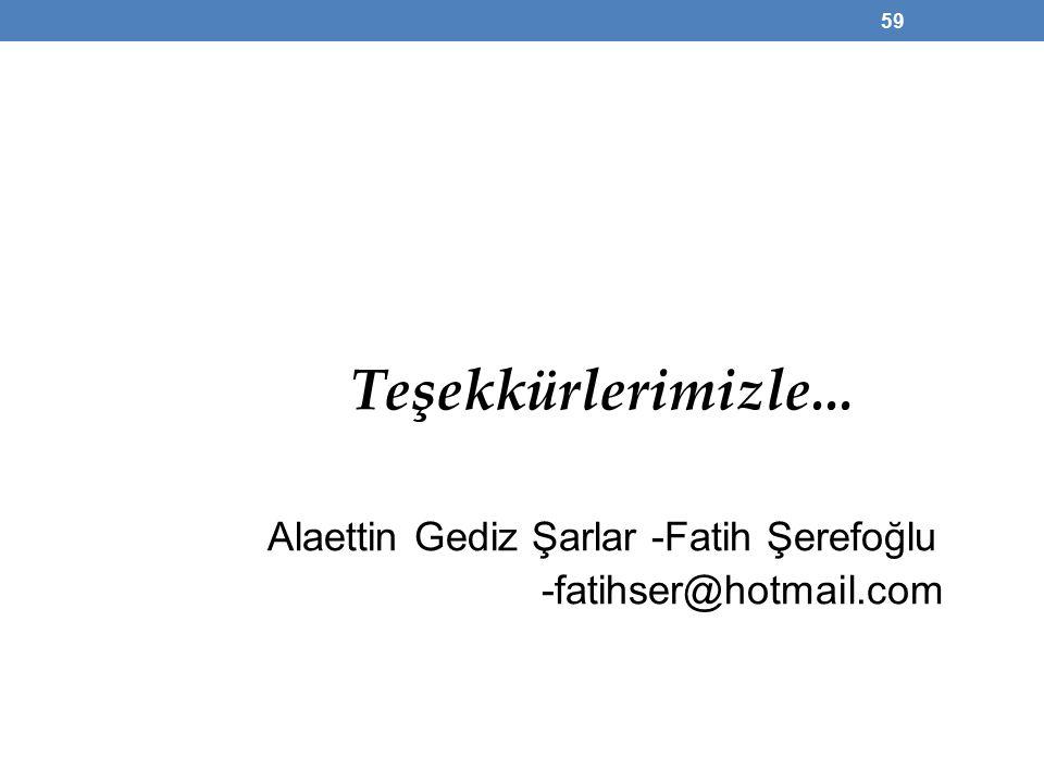 Teşekkürlerimizle... Alaettin Gediz Şarlar -Fatih Şerefoğlu -fatihser@hotmail.com 59