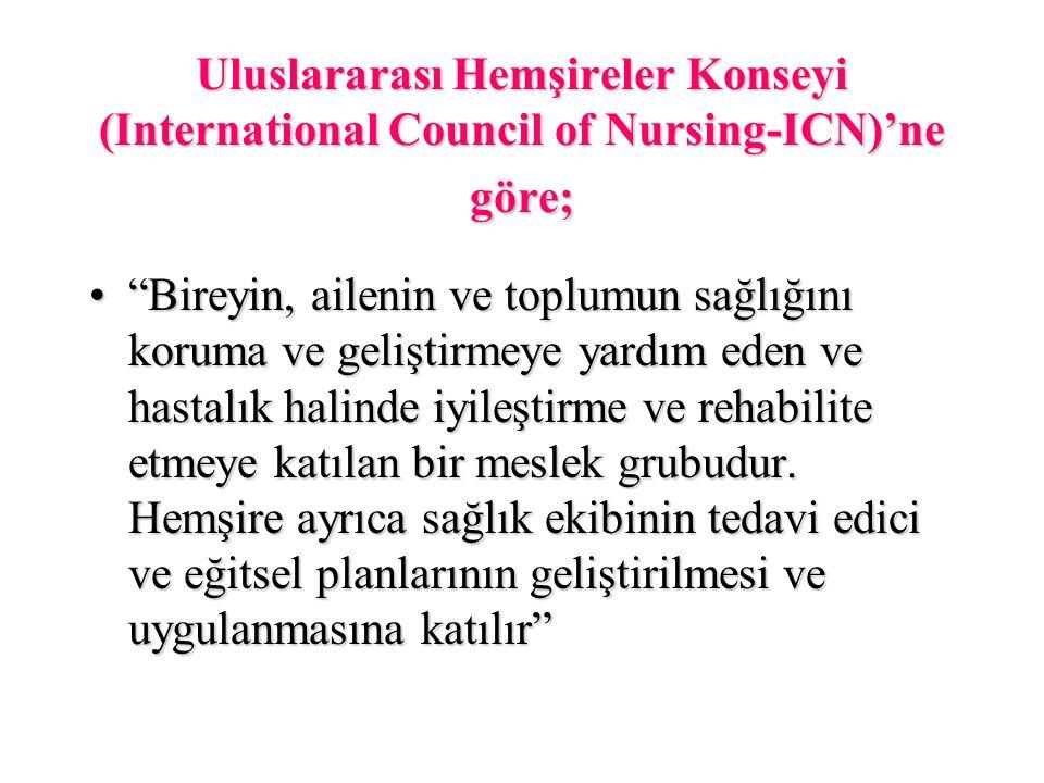 """Uluslararası Hemşireler Konseyi (International Council of Nursing-ICN)'ne göre; """"Bireyin, ailenin ve toplumun sağlığını koruma ve geliştirmeye yardım"""