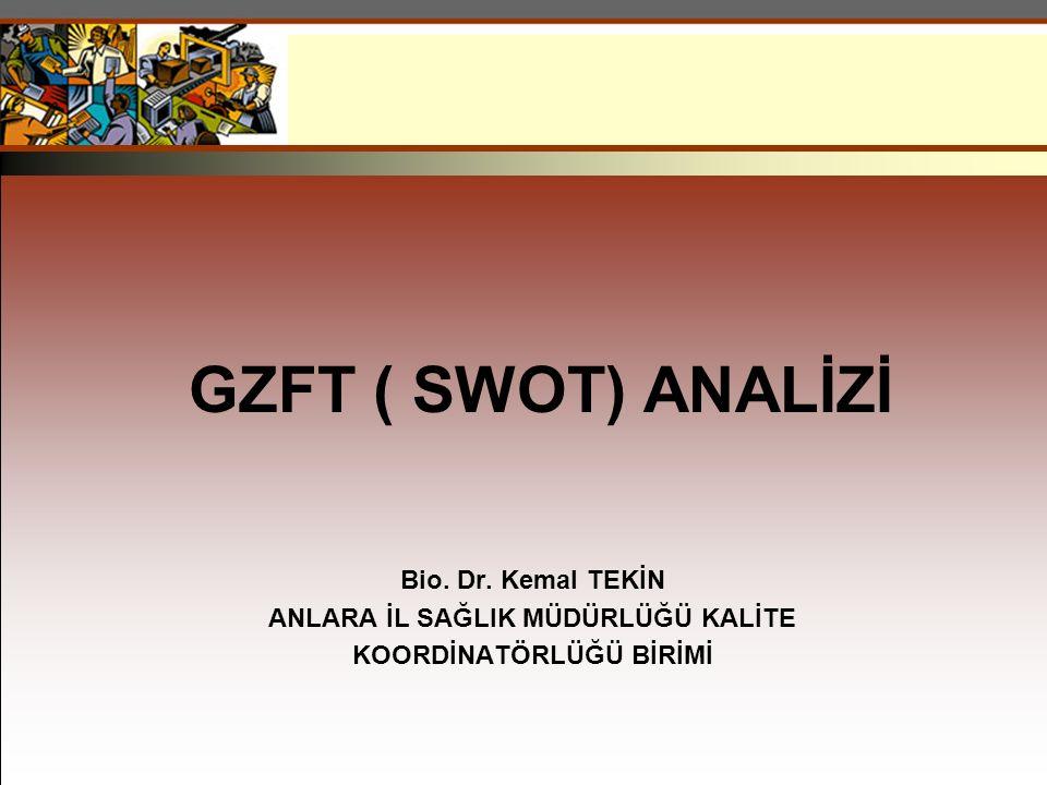 GZFT ( SWOT) ANALİZİ Bio. Dr. Kemal TEKİN ANLARA İL SAĞLIK MÜDÜRLÜĞÜ KALİTE KOORDİNATÖRLÜĞÜ BİRİMİ