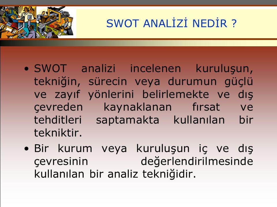 SWOT ANALİZİ NEDİR ? SWOT analizi incelenen kuruluşun, tekniğin, sürecin veya durumun güçlü ve zayıf yönlerini belirlemekte ve dış çevreden kaynaklana
