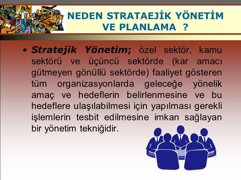 NEDEN STRATAEJİK YÖNETİM VE PLANLAMA ? Stratejik Yönetim; özel sektör, kamu sektörü ve üçüncü sektörde (kar amacı gütmeyen gönüllü sektörde) faaliyet