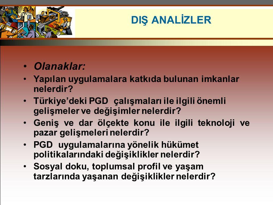 Olanaklar: Yapılan uygulamalara katkıda bulunan imkanlar nelerdir? Türkiye'deki PGD çalışmaları ile ilgili önemli gelişmeler ve değişimler nelerdir? G