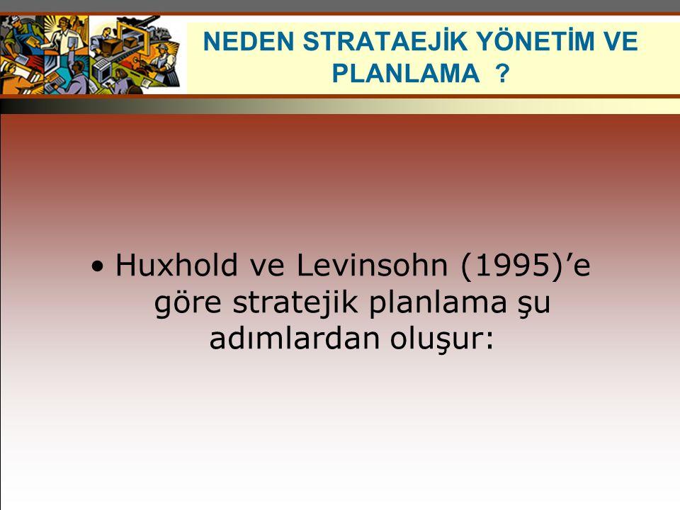 Huxhold ve Levinsohn (1995)'e göre stratejik planlama şu adımlardan oluşur: NEDEN STRATAEJİK YÖNETİM VE PLANLAMA ?