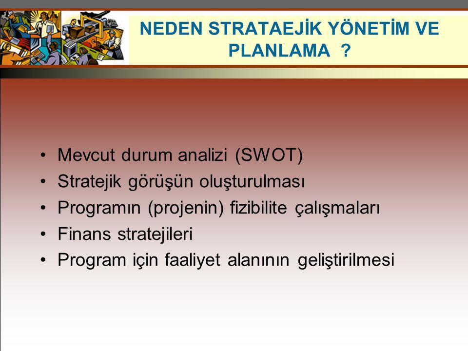 Mevcut durum analizi (SWOT) Stratejik görüşün oluşturulması Programın (projenin) fizibilite çalışmaları Finans stratejileri Program için faaliyet alan